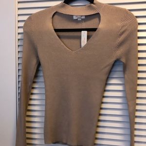 Tan Long-Sleeve Thin Sweater